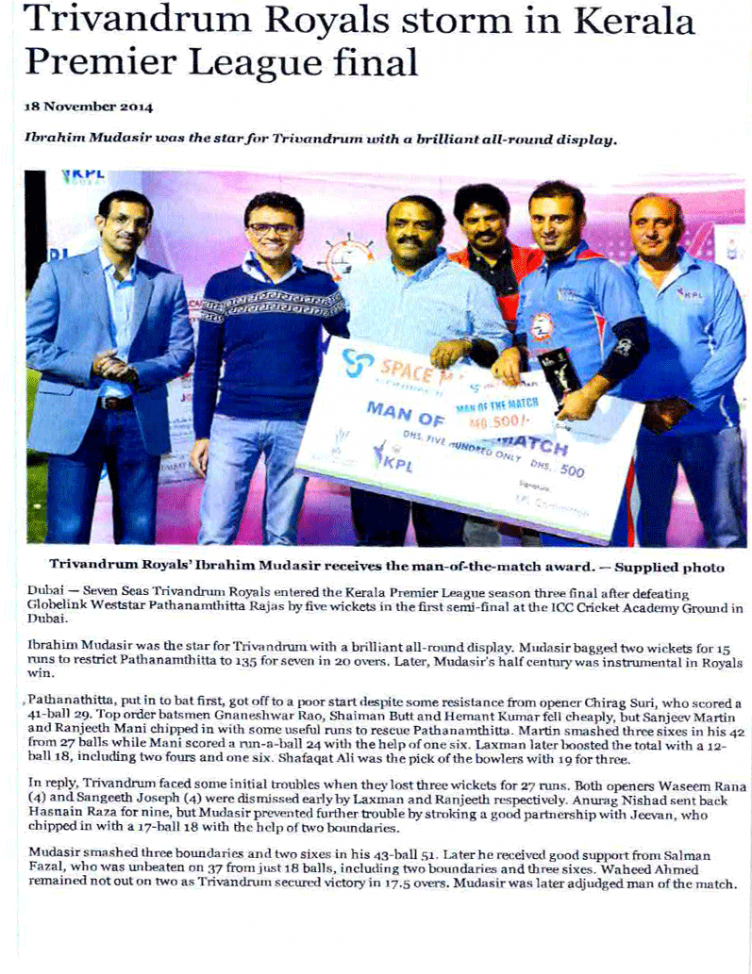 Trivandrum Royals Storm in KPL -Khaleej Times report